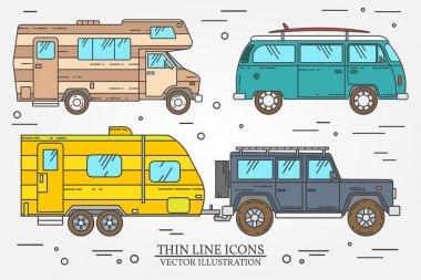 Set of Tourist bus, SUV, trailer, jeep, RV camper trailer, Traveler truck.  Summer trip family travel concept.  Thin line icon. Vector illustration.