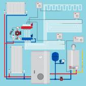 Fotografie Smart energy-saving heating system with thermostats. Smart House with Room Thermostat.  Gas boiler, heating systems. Manifold with Pump. Green energy. Vector illustration.