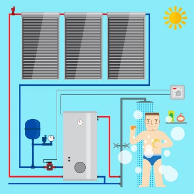 Solar Water Heater system and man in the bathroom taking a shower. Flat icon for web design and application interface, also useful for infographics. Vector illustration. clip art vector