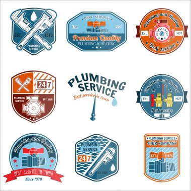 Set of retro vintage badges and labels. Plumbing and heating service. Emergency service logo. Vector illustration. Elements on the theme of the plumbing service business.
