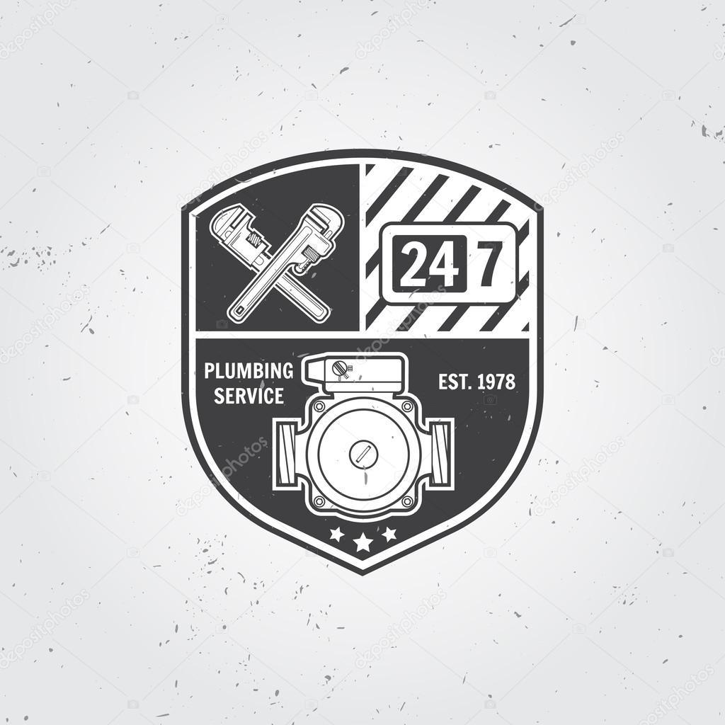 Vintage plumbing service badge, banner or logo emblem.Elements on ...