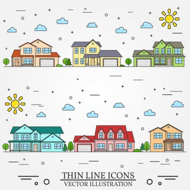 Neighborhood with homes illustrated on white background.