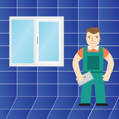 Tiles and tiler in the bathroom. Vector.