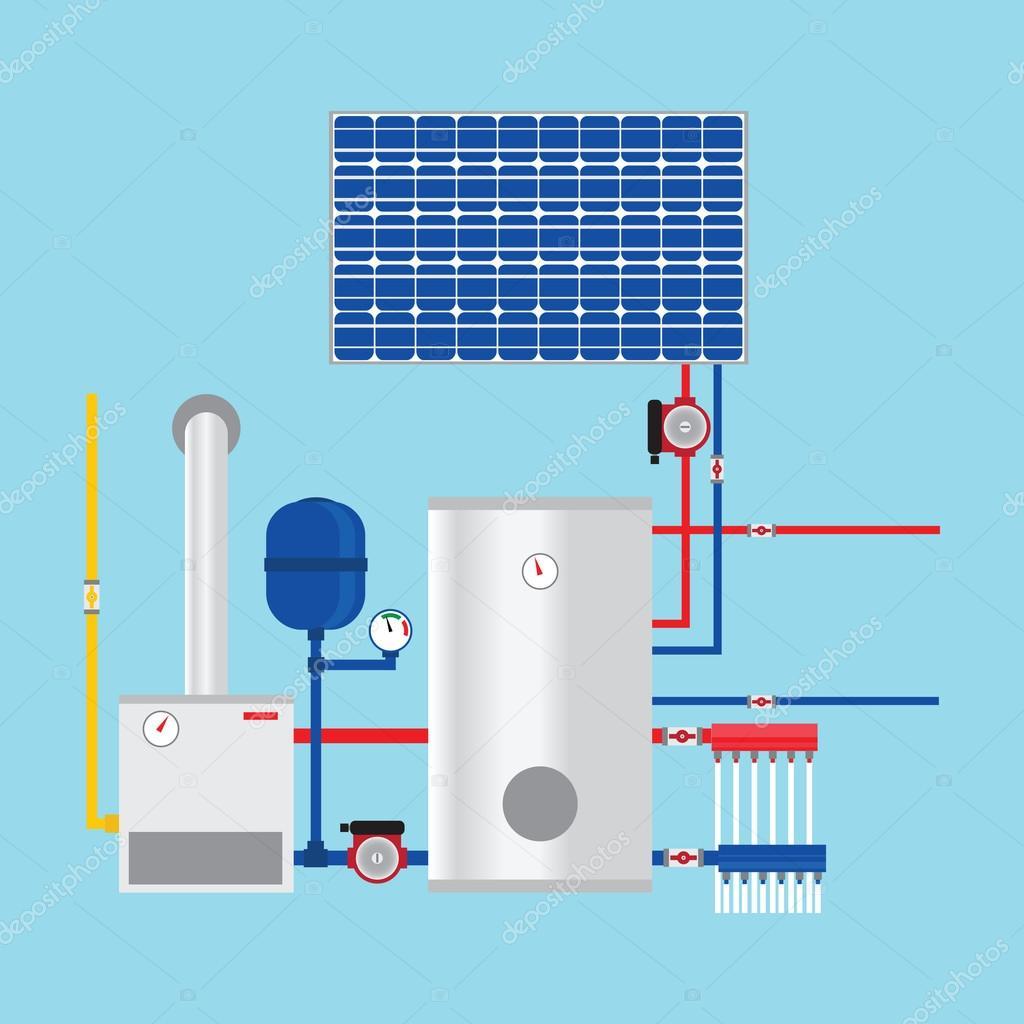 Gas boiler and solar panels. Eco-house. Vector. — Stock Vector ...