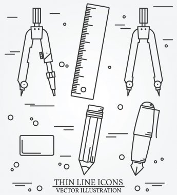 Drawing tools thin line icon set for web and mobile.