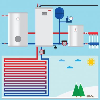 Air source heat pump in the cottage. Vector. clip art vector