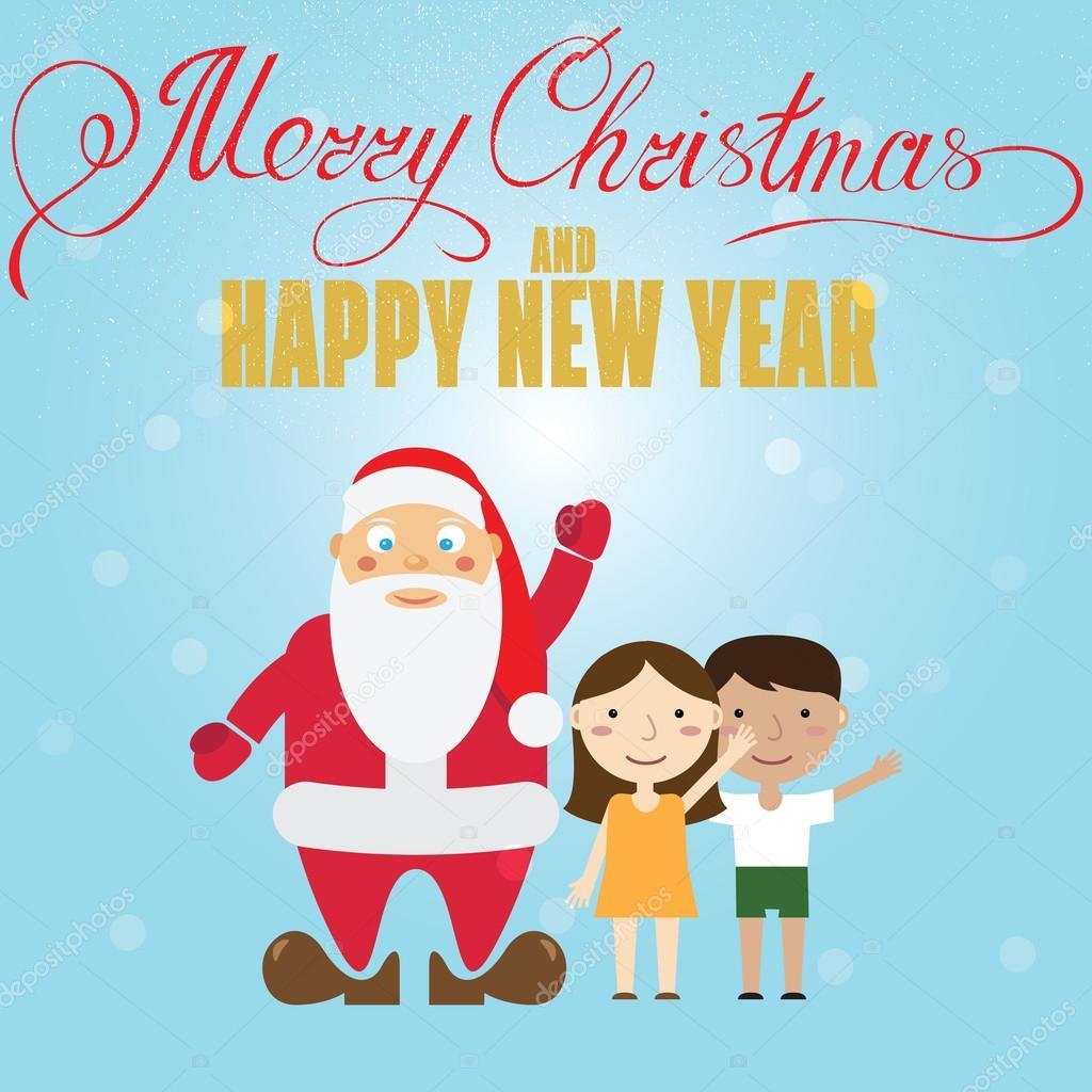 Santa Claus And Children Christmas Greeting Card Vector Illust