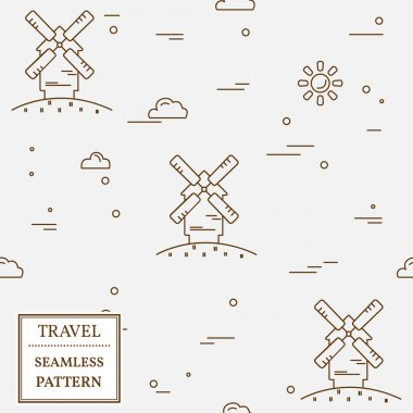 Air windmill travel seamless pattern. Thin line icon. Vector ill