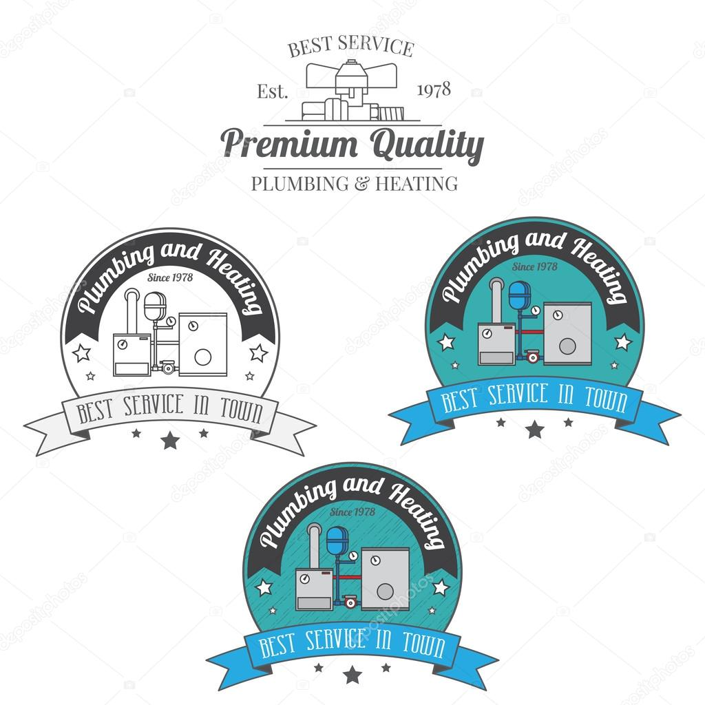 Set of plumbing and heating vintage labels. Outdoor for you comp ...
