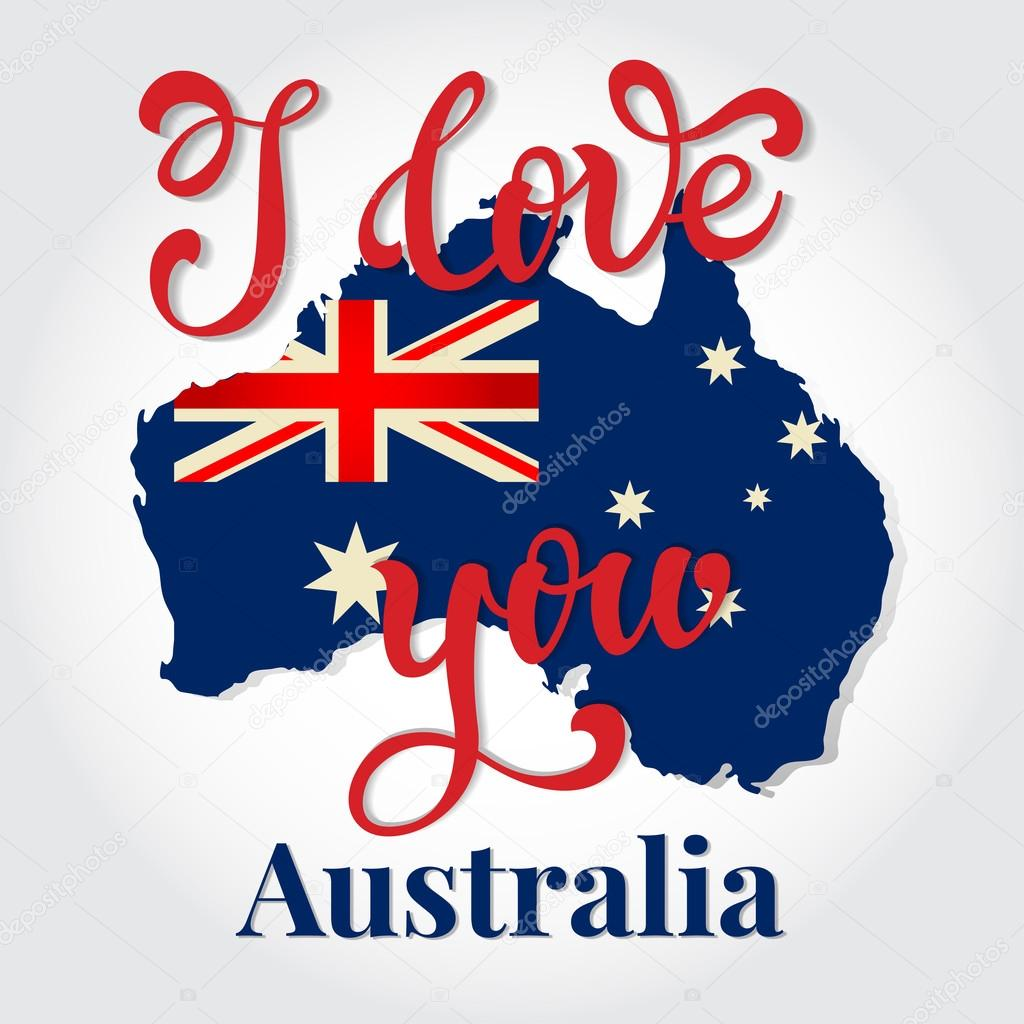 i love you australia hand lettering greeting card happy austral