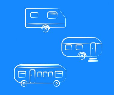 Collection of residential trailers on a blue background. Symbol. Vector illustration. icon