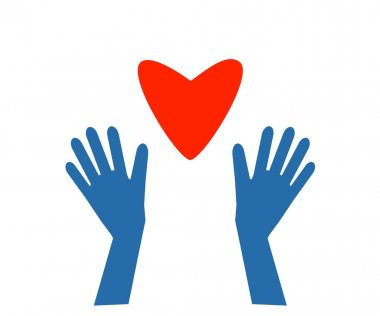 Hands in gloves and a heart on a white background. Symbol. Vector illustration. icon