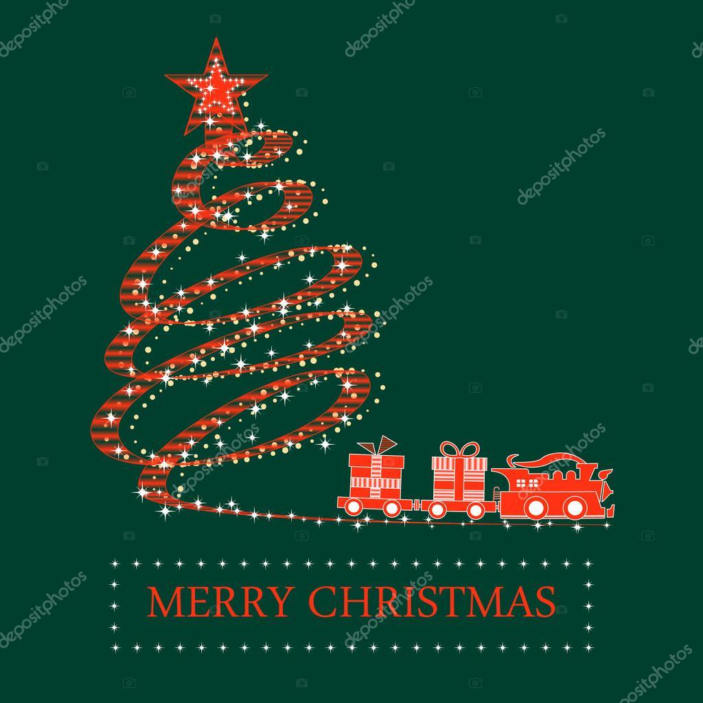 rot weihnachtsbaum und zug mit rauchen und geschenke auf. Black Bedroom Furniture Sets. Home Design Ideas