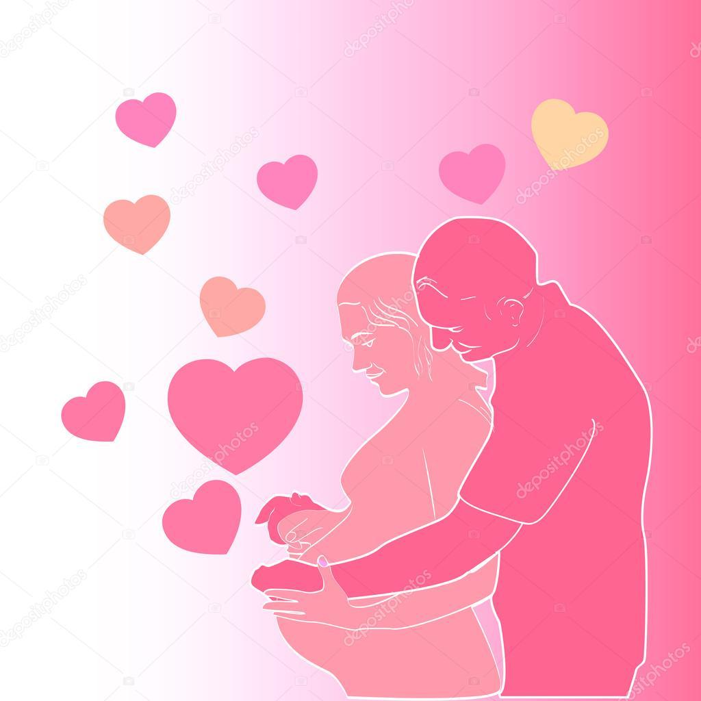 Открытка мужу от беременной жены