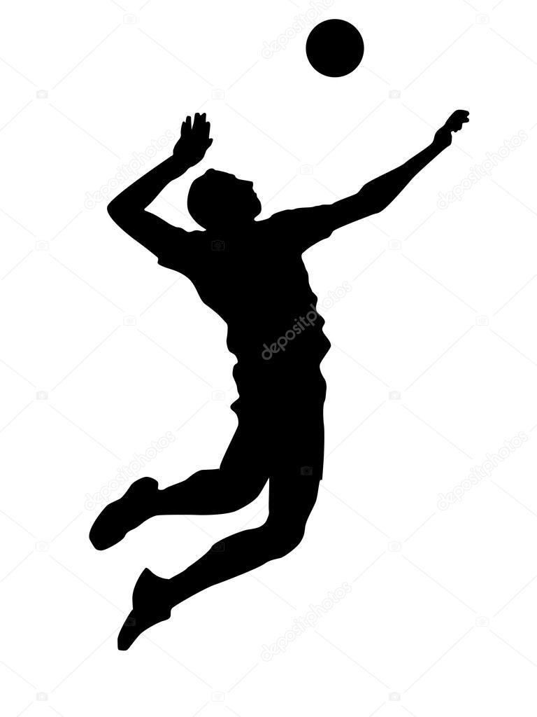 抽象的なバレーボール選手のシルエットのイラスト \u2014 ストック