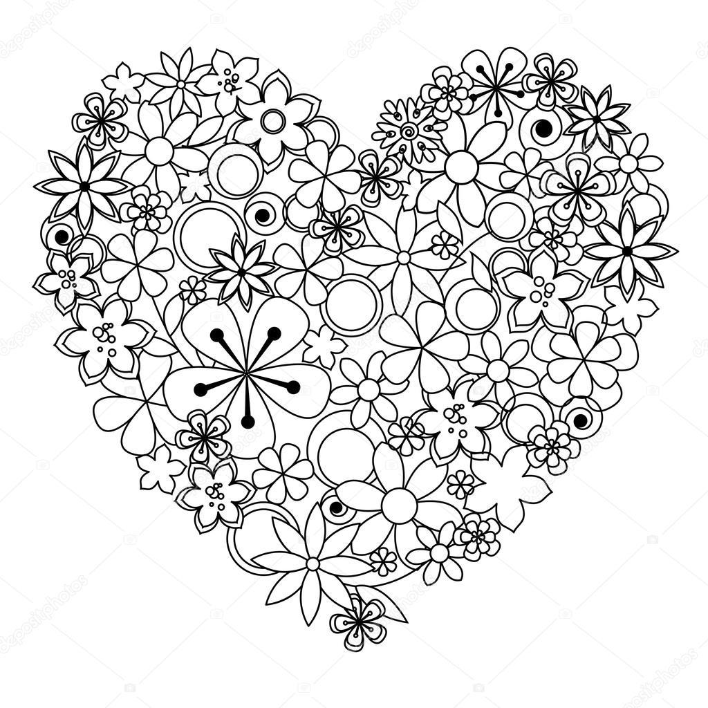 Corazón decorativo hecho de negro una flores blancas para colorear ...