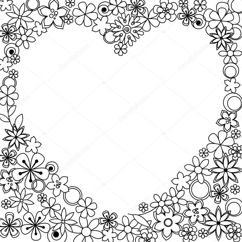 çerçeve Siyah Beyaz Bir çiçek Yaptı Stok Vektör Claudianuage