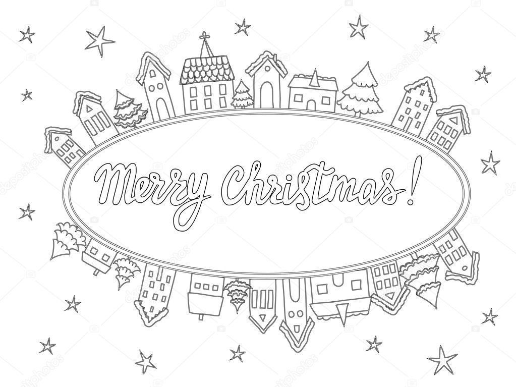 Template for coloring pages, Christmas cards. — Stockvektor ...