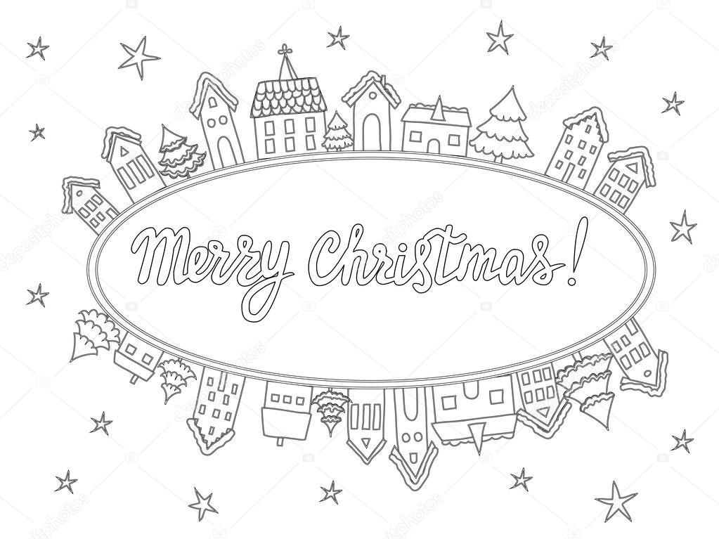 Plantillas para colorear, tarjetas de Navidad — Archivo Imágenes ...