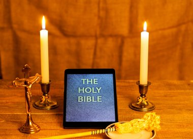 Digital  holy bible as a symbol of a new era.
