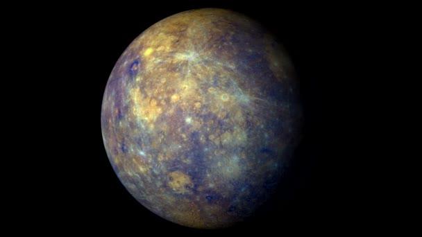 Mercury forgó szilárd fekete háttér. Loopable