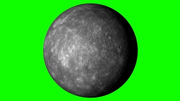 Mercurio Rotante Su Sfondo Verde A Tinta Unita Loopable Video
