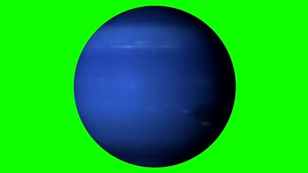 Nettuno Rotante Su Sfondo Verde A Tinta Unita Loopable Video