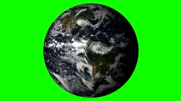 Se země otáčí na plné zelené pozadí. Loopable