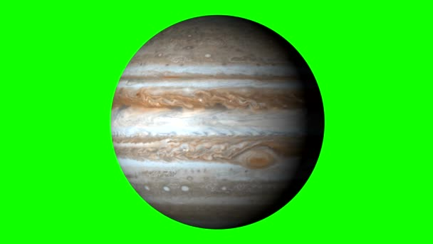 Jupiter Rotating on Solid Green Background. Loopable