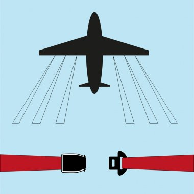 Illustration of an airplane/the seat belt on the plane