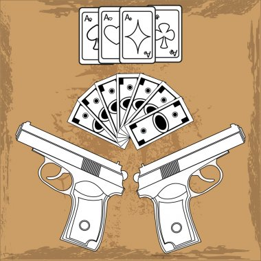 Illustration playing cards, money and two guns