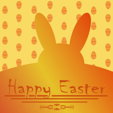Greeting card for Easter with yellow Easter Bunny
