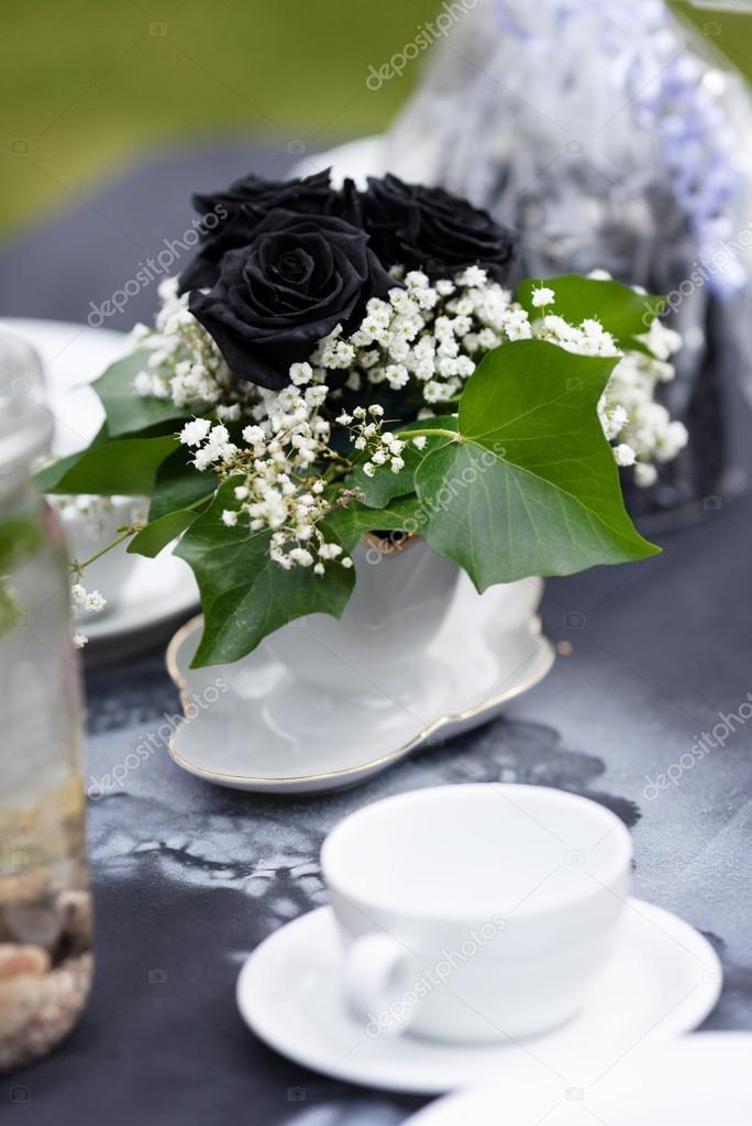 Elegant Dekorierte Hochzeitstafel Gothic Romantik Outdoor Hochzeit