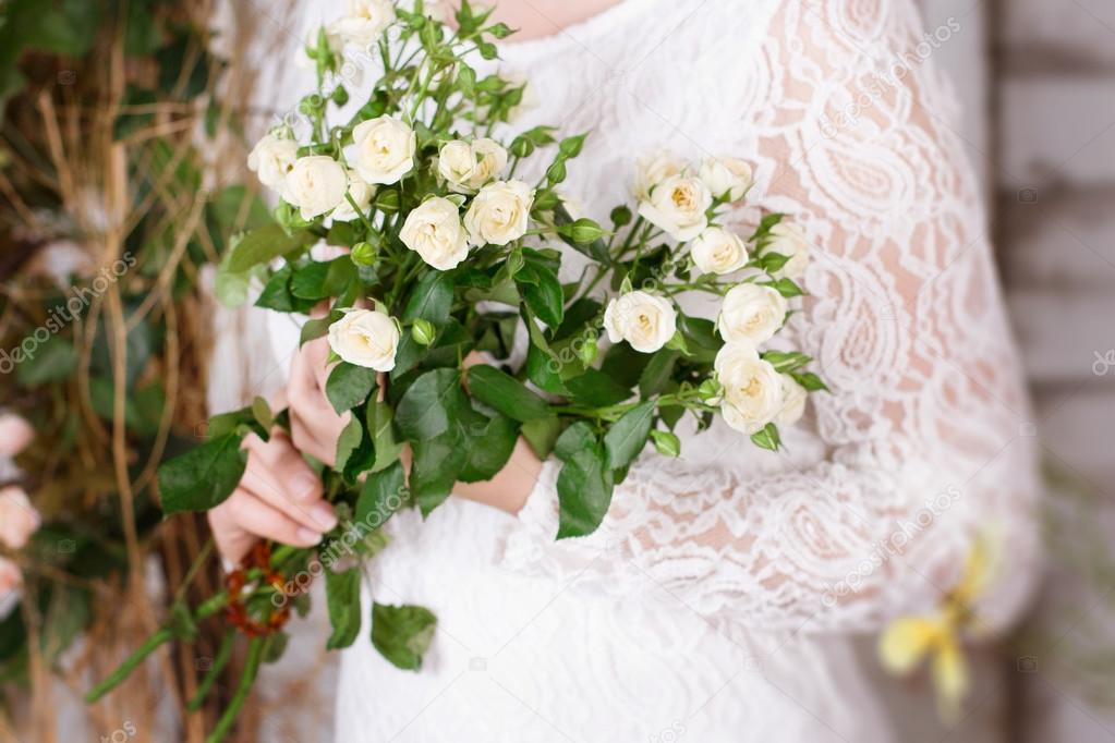 Bridal bouquet of small white roses — Stock Photo © Lina_Aster #90133182