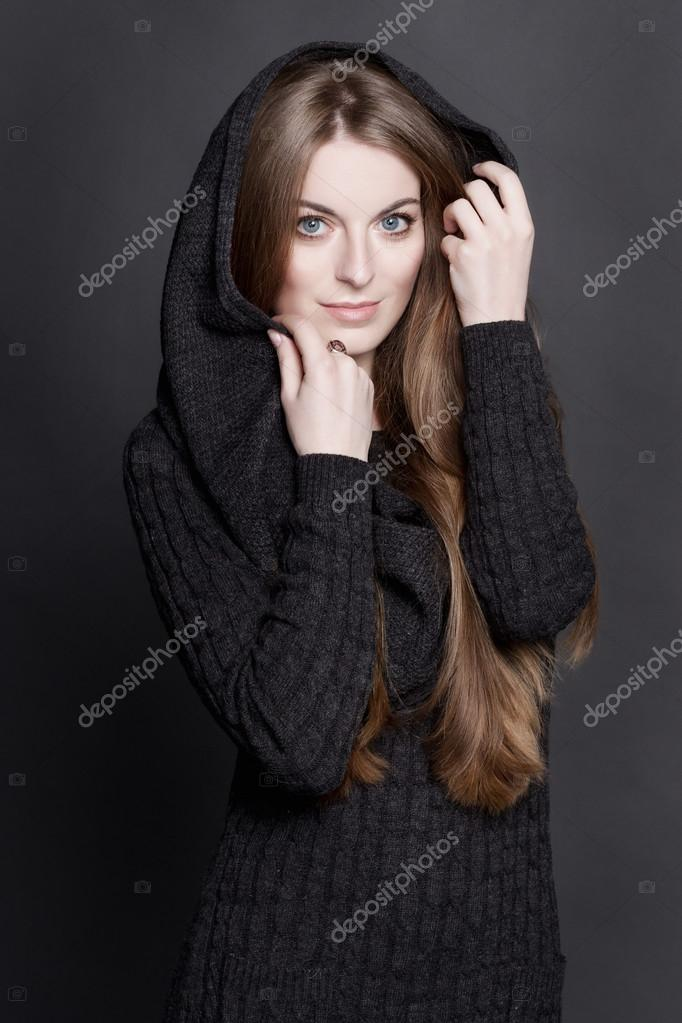 Oung Attractive Woman With Long Gorgeous Dark Blond Hair And Large