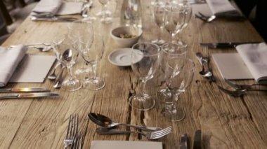 Wedding table setting close up. Wedding in Paris & Elegant dinner party table setting. u2014 Stock Video © amarosy #171389524