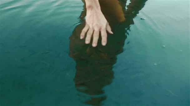 Beautiful manicured woman hands close up in the clean blue water with herd of little fishes. Wonderful moment of unity with nature. Young nymph of Synevir lake in Carpathian mountains