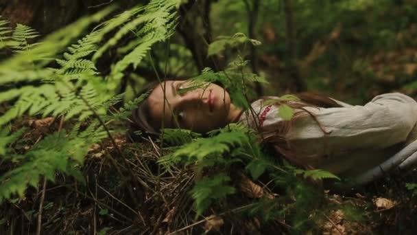 Krásná mladá mytologická dryáda z podkarvního lesa, ležící na kapradí a trávě a se zasněně baví přírody