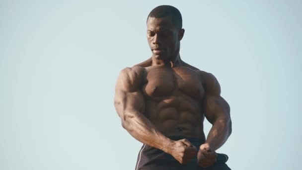 Strong handsome african american bodybuilder showing his perfect muscles on the clear blue sky background