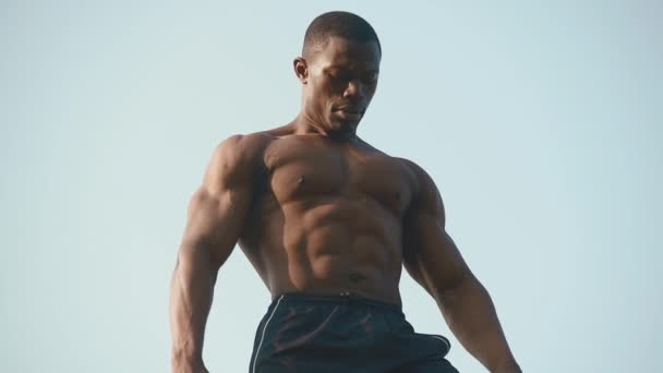 Strong handsome african american bodybuilder with naked torso showing his perfect muscles on the clear blue sky background