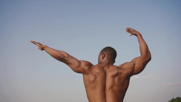 Back view on strong handsome african american bodybuilder with naked torso showing his perfect muscles on the clear blue sky background