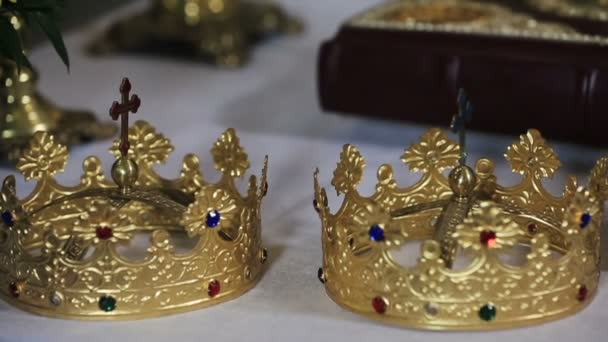 Golden wedding crown  in the church close up