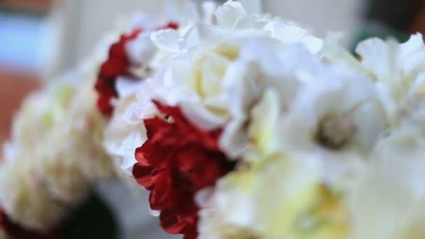 Bílých a červených růží zblízka