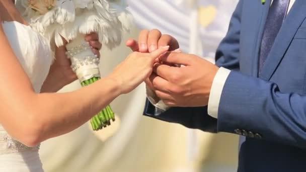 Primo piano della sposa e lo sposo lo scambio di fedi nuziali. Coppia in amore