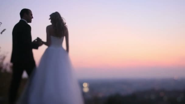 Charming luxurious wedding couple on the sunset hill upon evening city lights