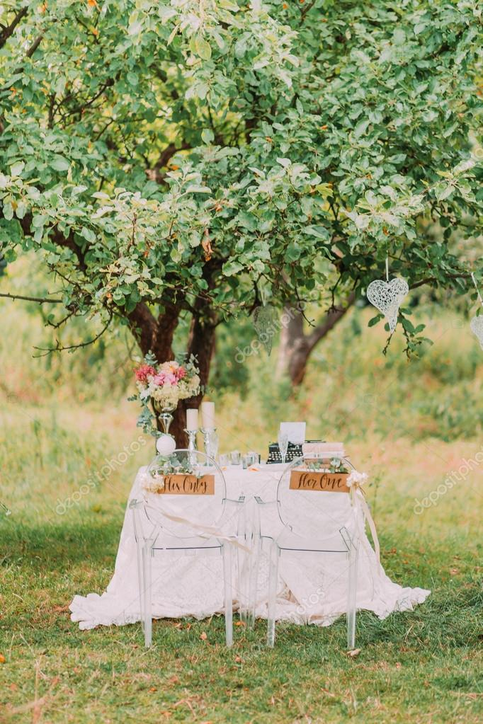 Wedding decoration in forest rustic ceremony in park table wedding decoration in forest rustic ceremony in park table andchairs decorative items junglespirit Choice Image