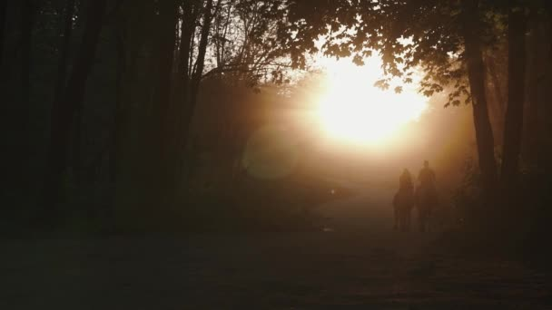 Enigmatic couple of jockeys man and woman traveling on horseback through a golden misty autumn forest. Fairy tale sunset background