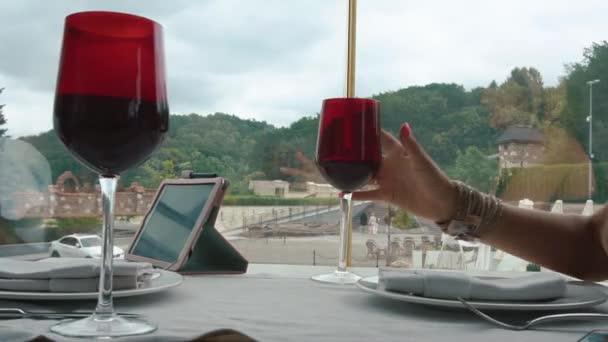 Dvě ženy zvyšování vinné sklenice pronese přípitek a pití vína. Dvůr s vzdálené forest hills v okně jako pozadí