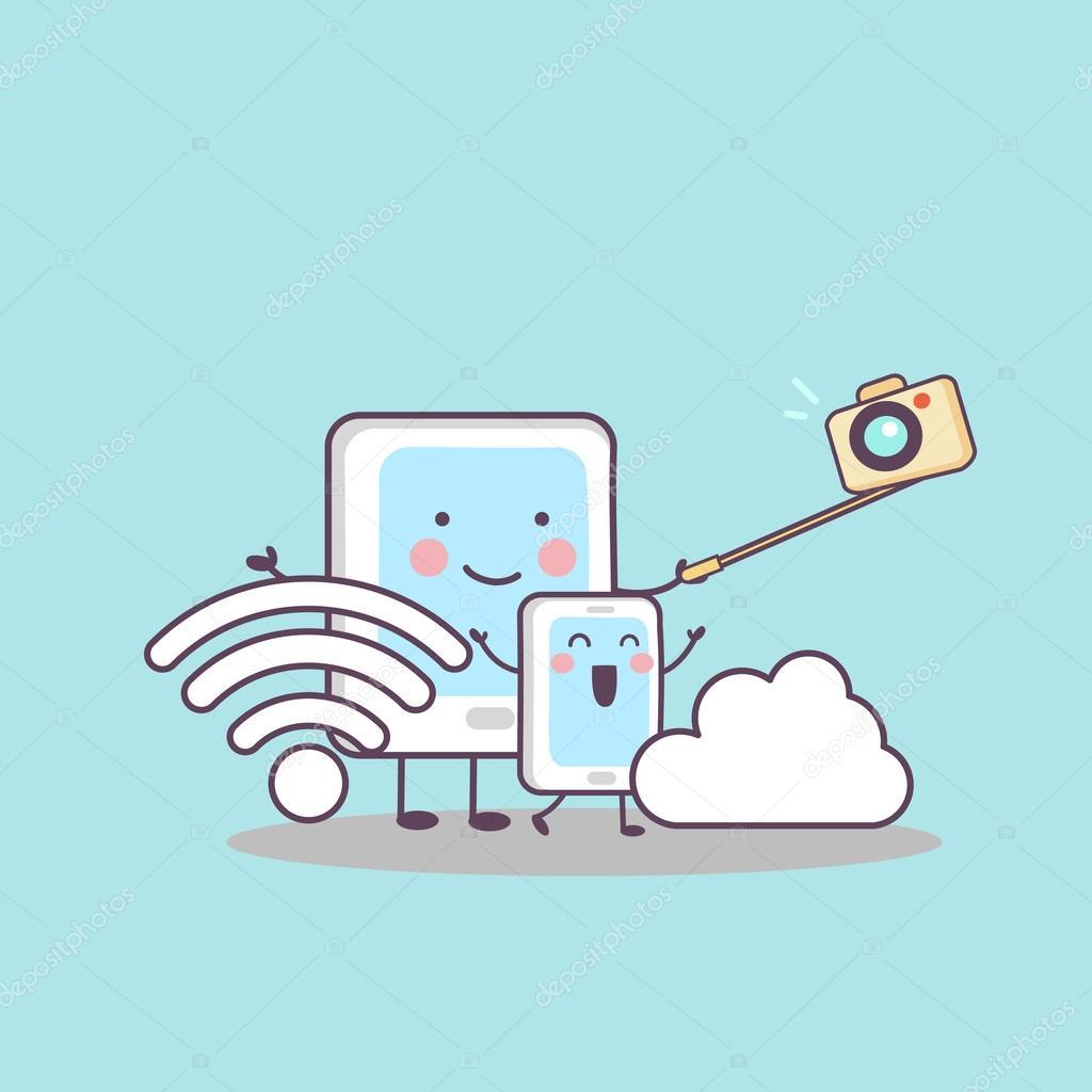 dibujos animados tableta digital cámara wifi — Archivo Imágenes ...