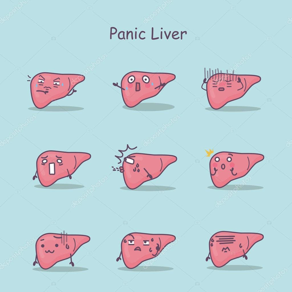 conjunto de dibujos animados pánico hígado — archivo imágenes